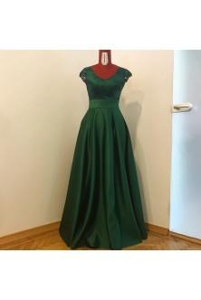 Rochie cu decolteu V oval din broderie si tafta verde-negru